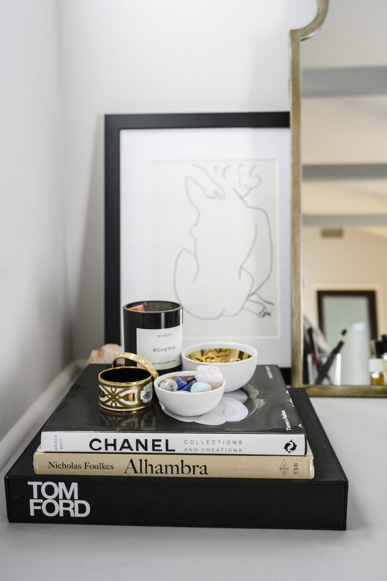coffee table books, bedroom, chanel, candle