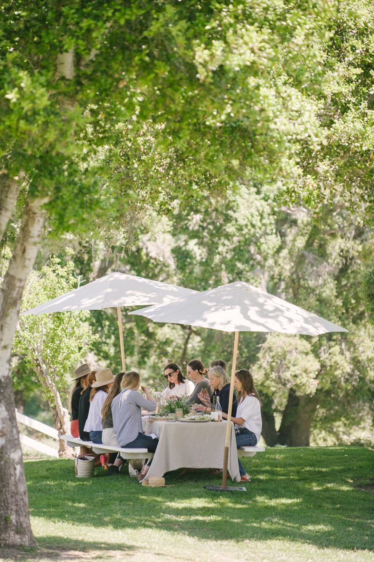 Jenni Kayne Retreat, lunch, outdoors, umbrellas