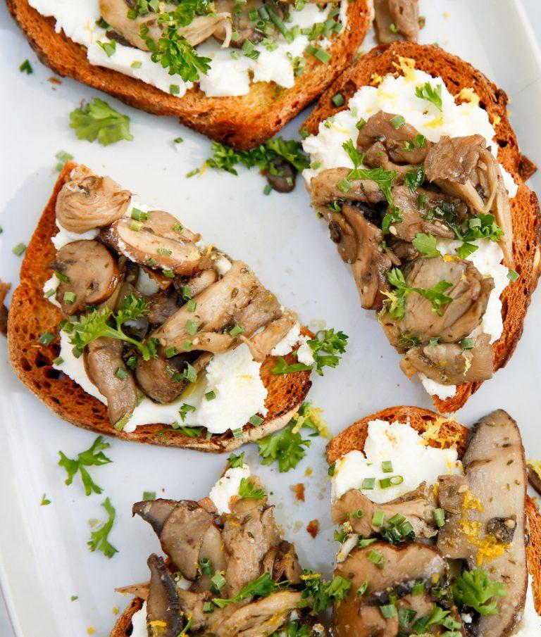 wild mushroom and ricotta toast