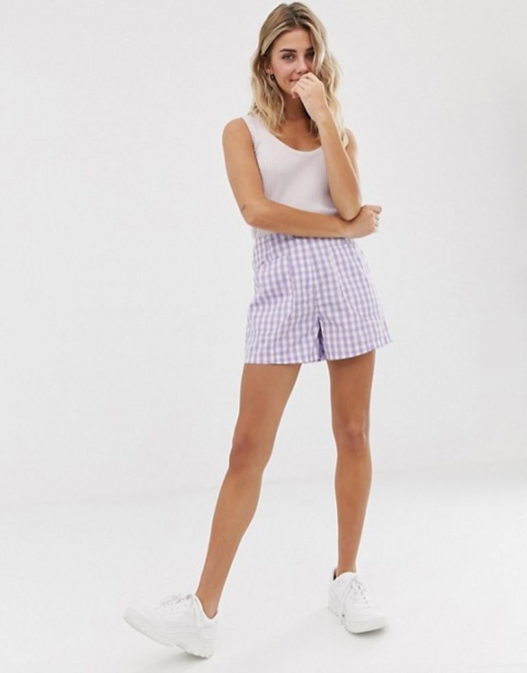 asos gignham shorts