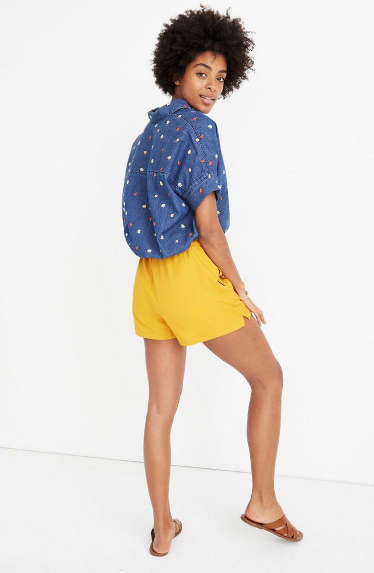 madewell yellow shorts