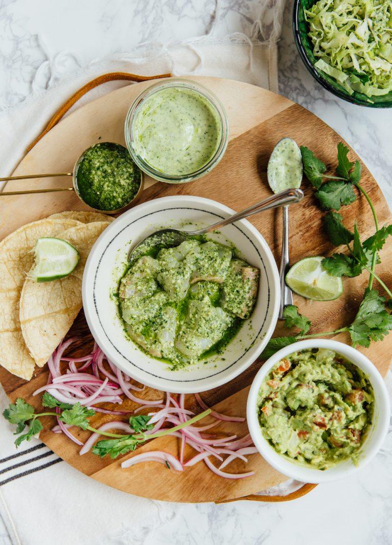 tacos de peixe chimichurri