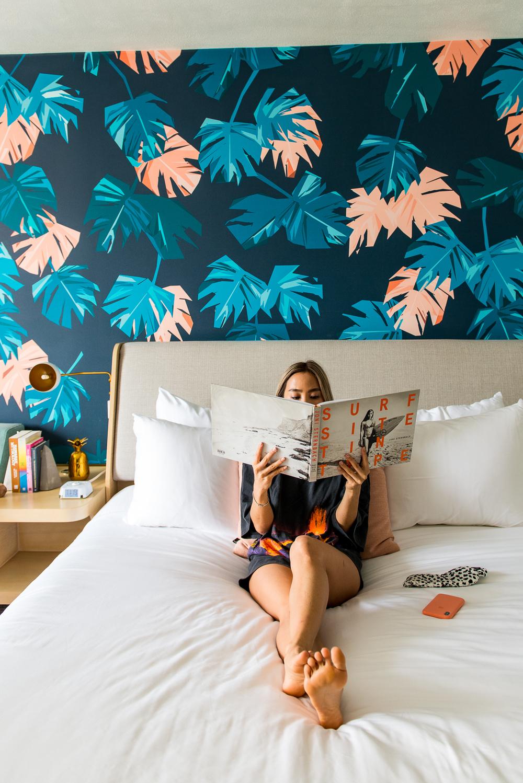 hotel room, book