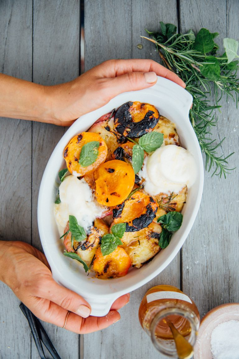 Grilled Peaches & Plums with Ice Cream recipe