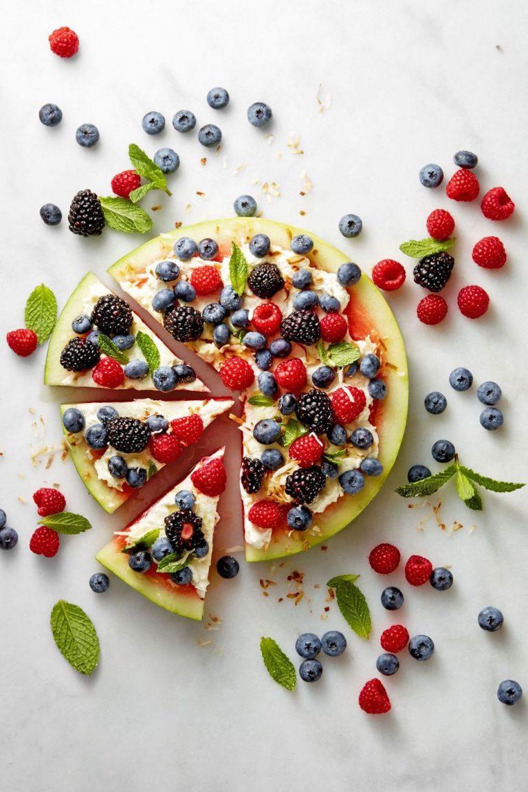 watermelon pizza, healthy desserts, 4th of July desserts