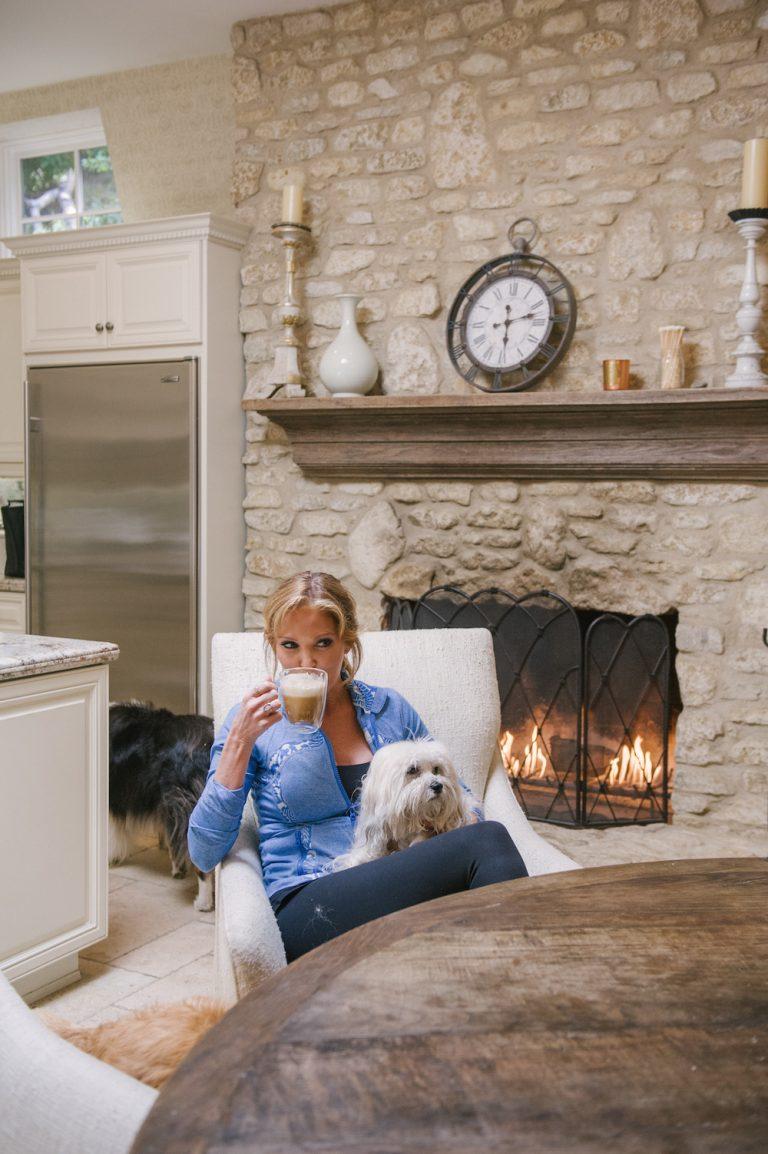 morning coffee, fireplace, living room