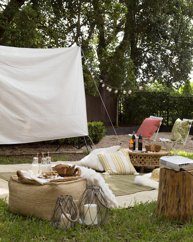 Host an outdoor movie night in your backyard.
