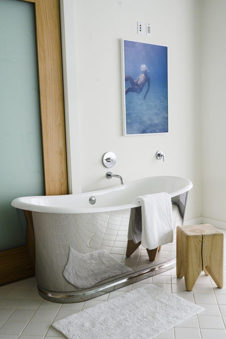 gorgeous metallic modern bathtub in a modern malibu home