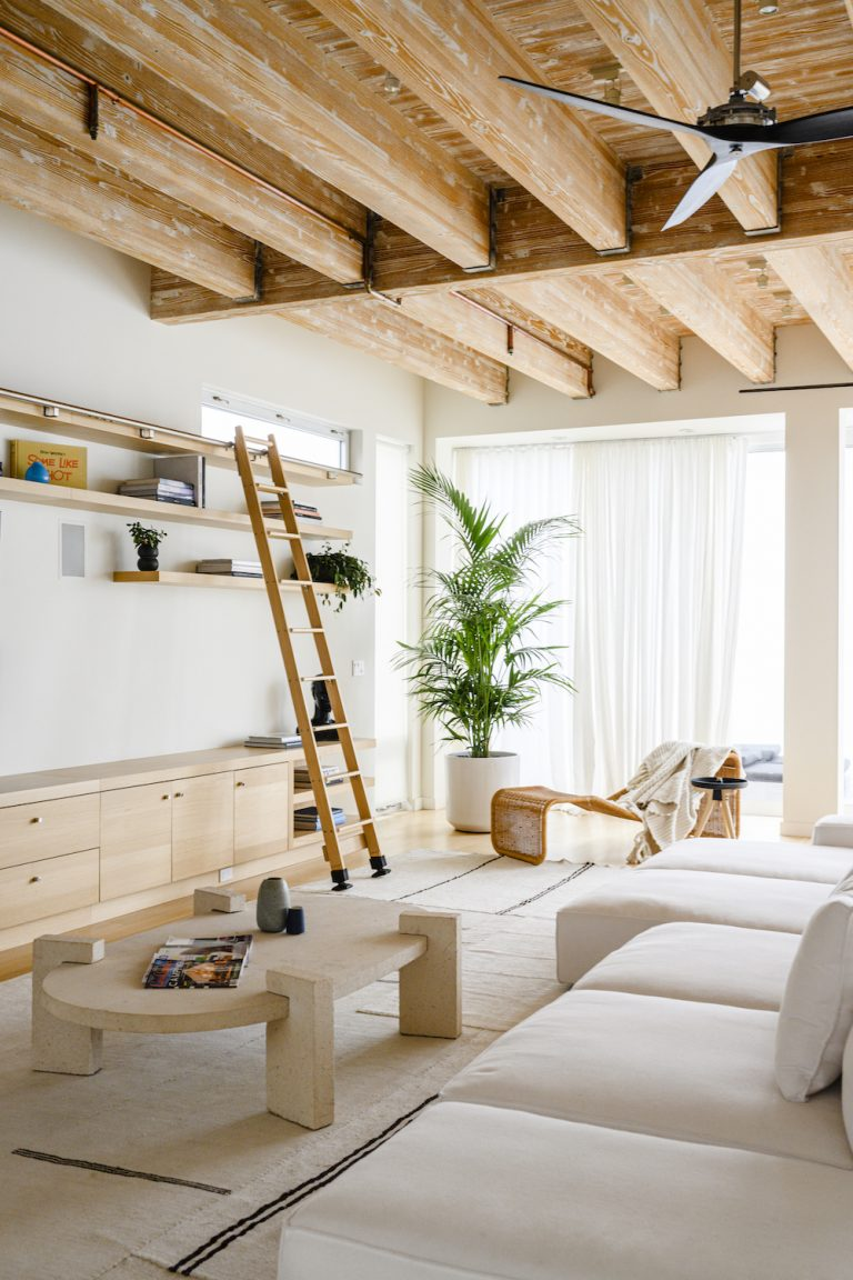 modern natural living room in ashley merrill's malibu home