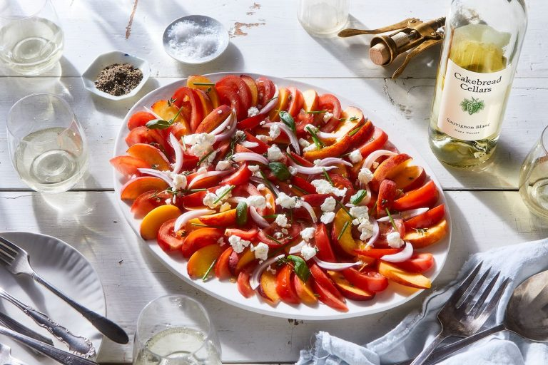 peach tomato goat cheese salad