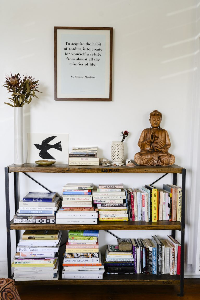 Ally Walsh, Canyon Coffee, bookshelf at home in LA