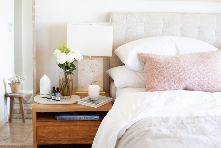 warm and cozy nightstand situation