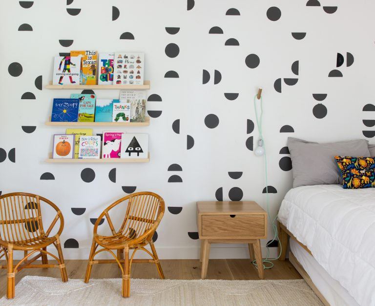 modern kids room in austin, tx with graphic black and white mural