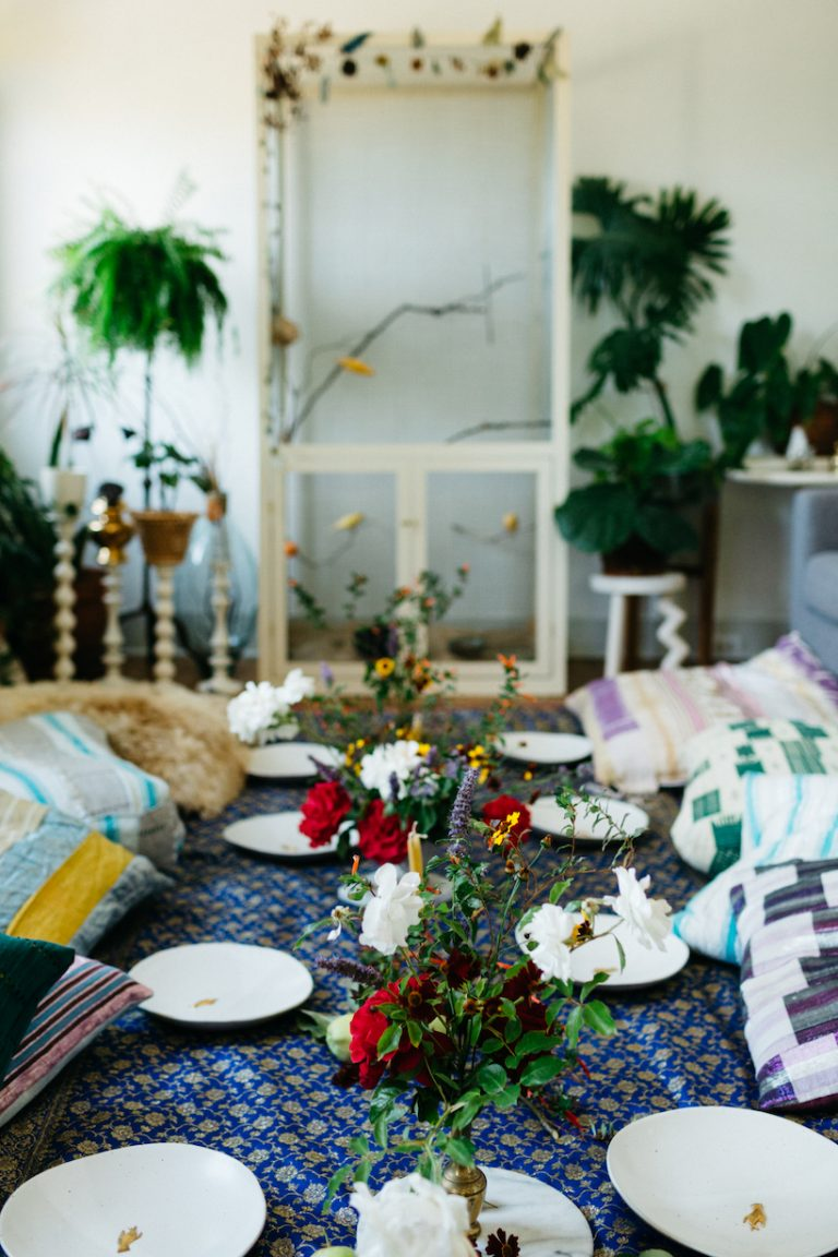 bohemian table setting at loria stern dinner party
