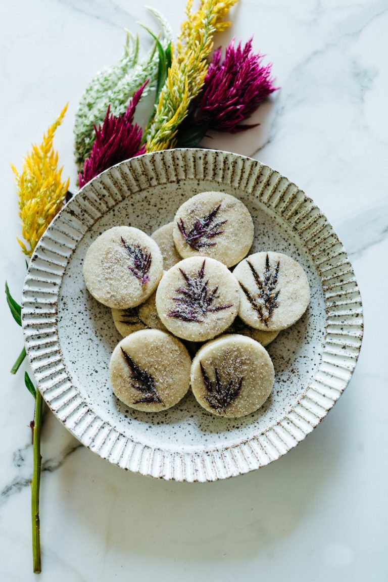 candied flower shortbread cookies at loria stern dinner party