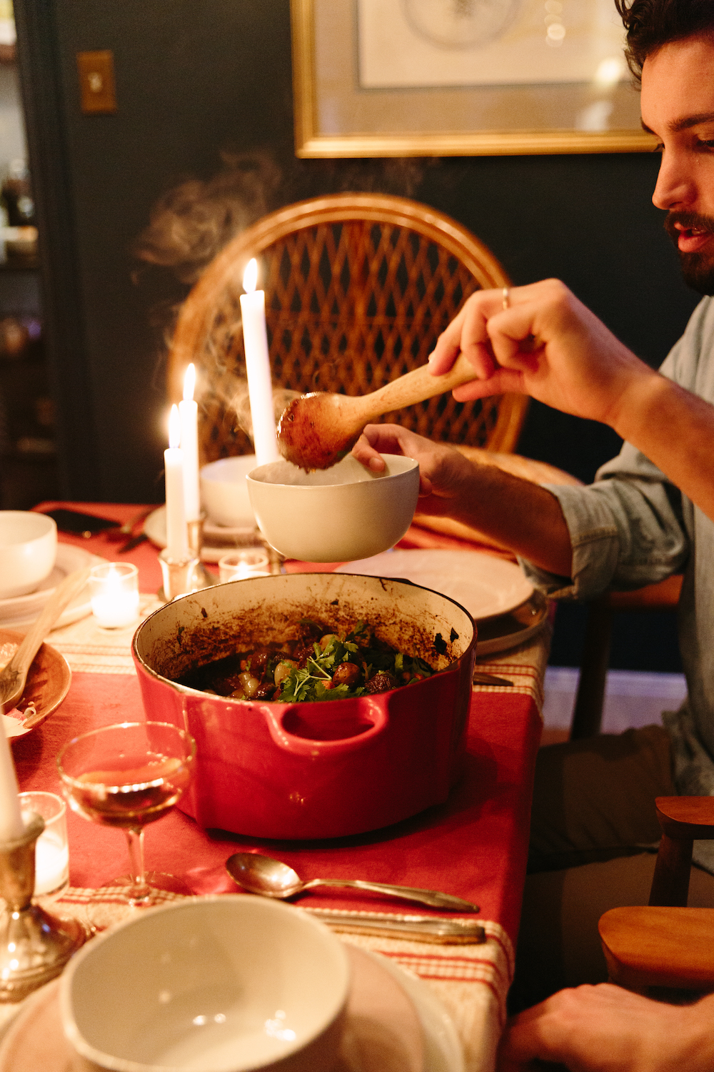 candlelit dinner party