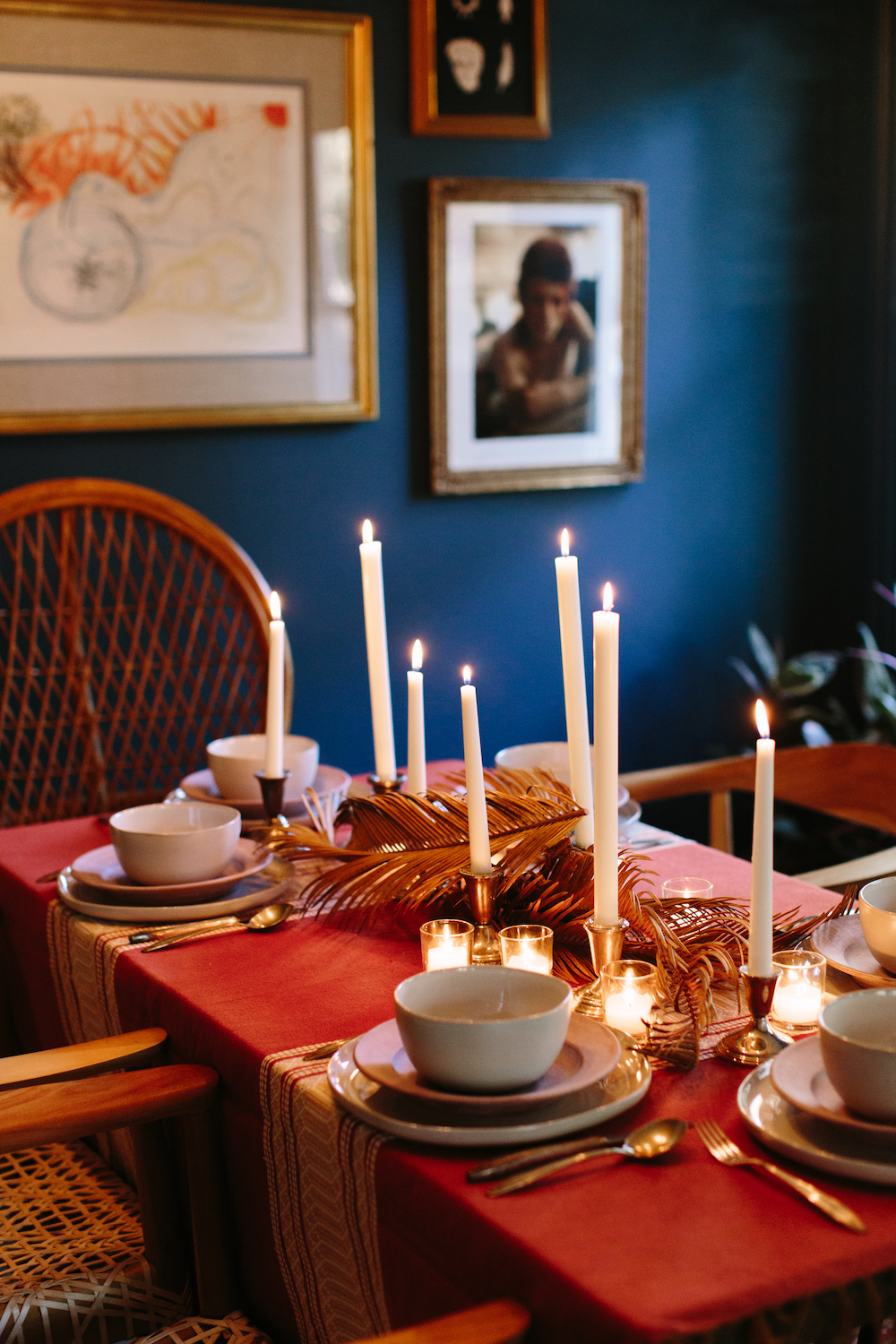 bohemian dinner party table setting