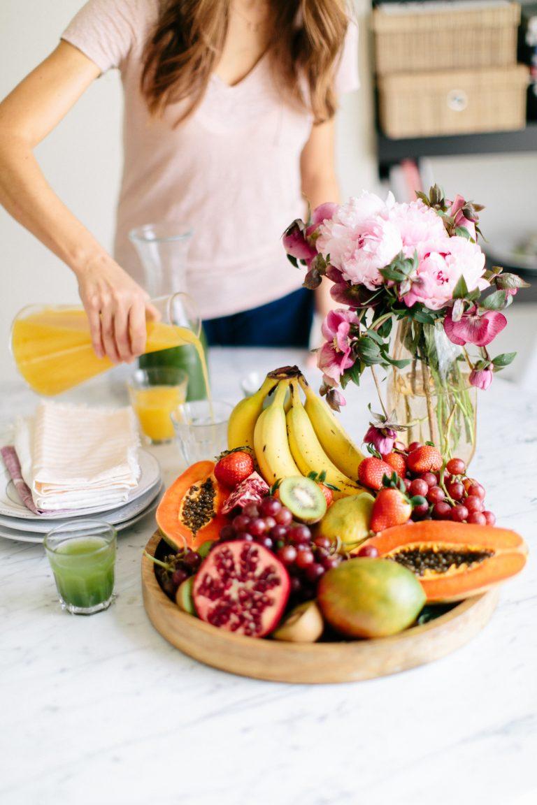 breakfast date, fruit plate, juice