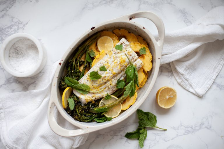 Slow Roasted Cod with Broccolini, Winter Squash, And Mint