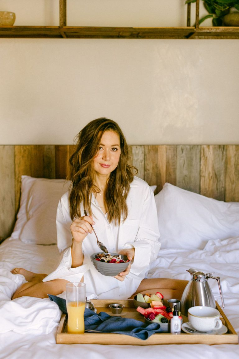 Camille Styles eating breakfast at the One Hotel in West Hollywood