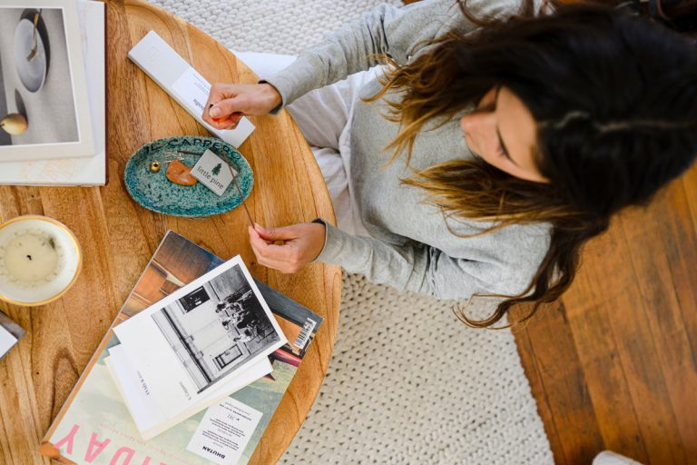 Ally Walsh at home with incense, how to take up space for yourself