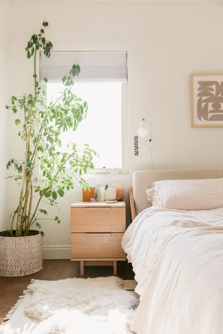 molly madfis home, almost makes perfect, california home, neutral home decor, bedroom, bed