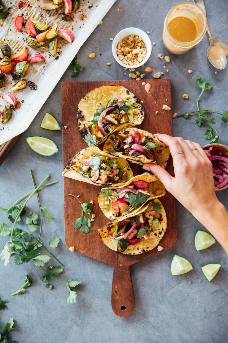 Spicy Peanut Brussels Sprouts Tacos are a vegetarian dinner recipe with fresh asian flavors