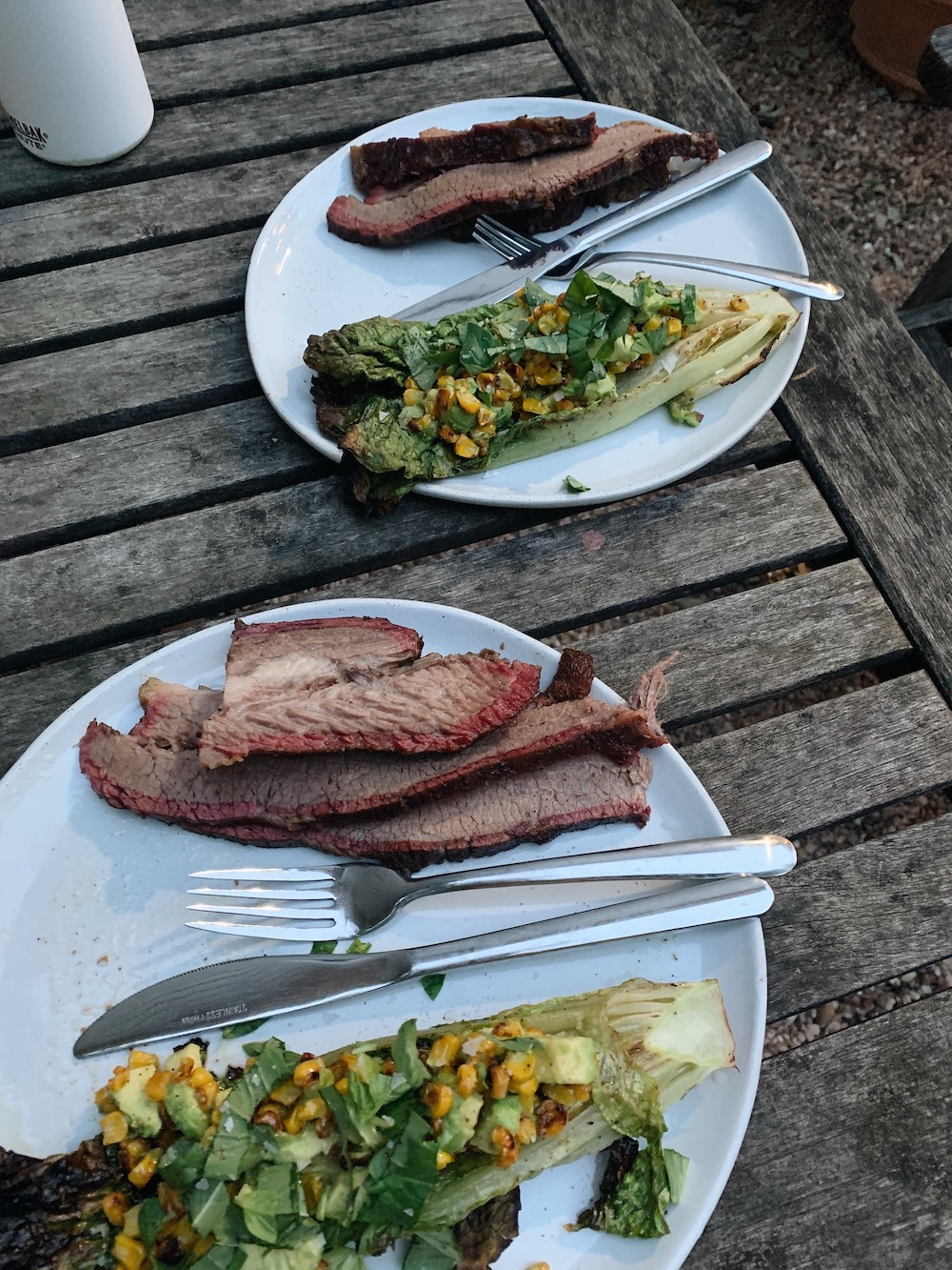 home cooking grill smoker brisket salad romaine lettuce corn avocado dinner recipe