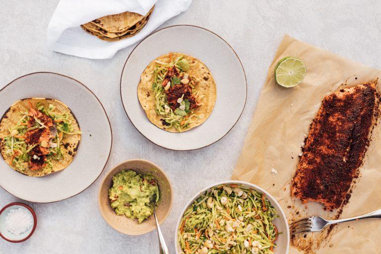 Chili-Rubbed Salmon Tacos With Cashew-Broccoli Slaw