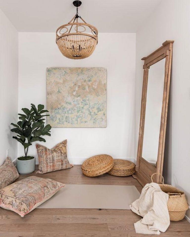meditation space, clean, uncluttered, minimal design