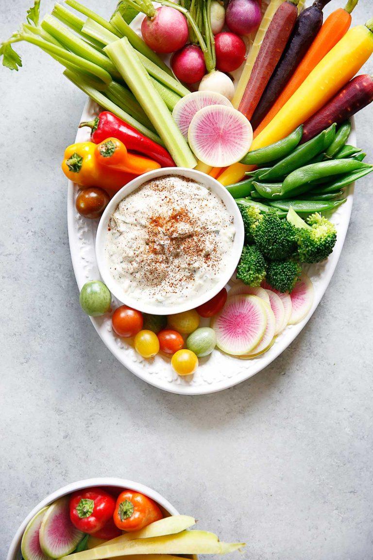 Clean kitchen with tzatziki sauce vegetable platter lexi