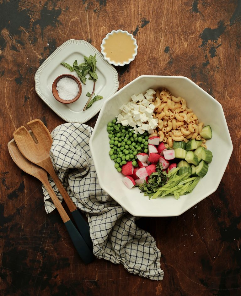 easy summer pasta salad with a miso tahini dressing