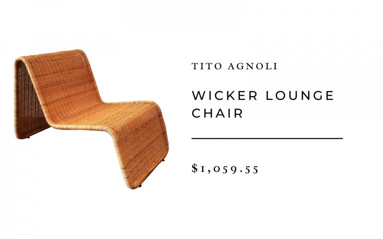 tito agnoli style wicker chair