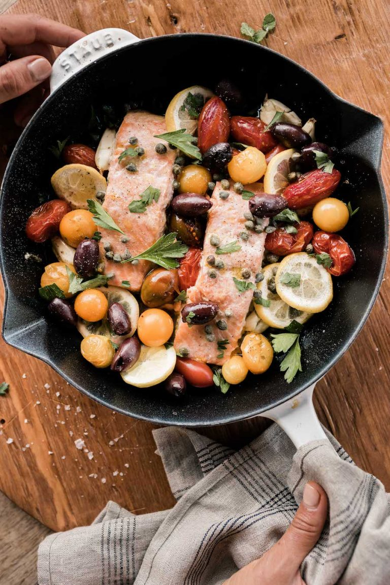 mediterranean baked salmon with tomatoes, capers, and olives