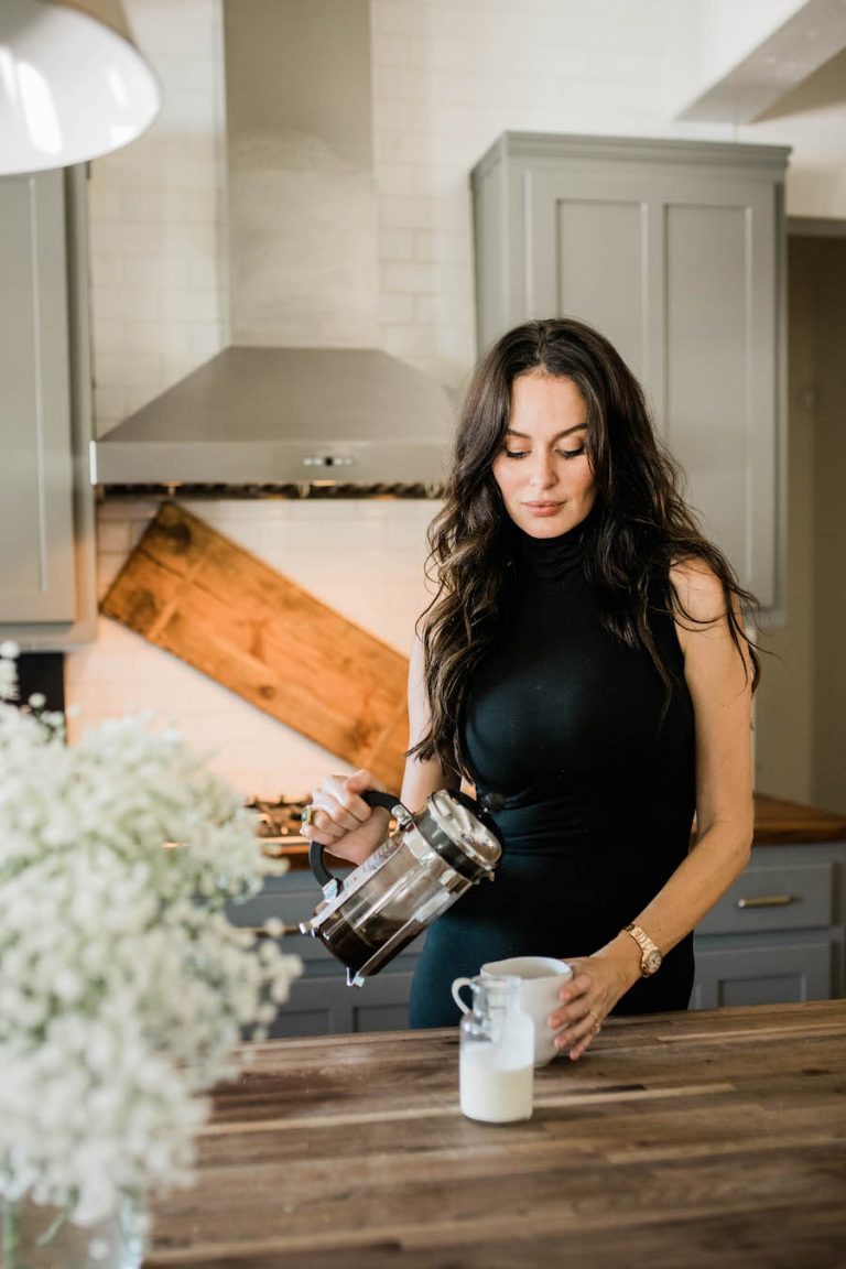 nicole trunfio making coffee at home in texas