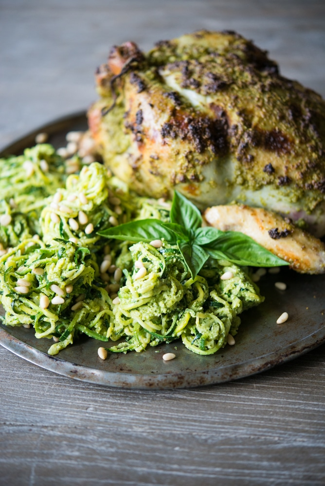 fennel pesto chicken zucchini spaghetti