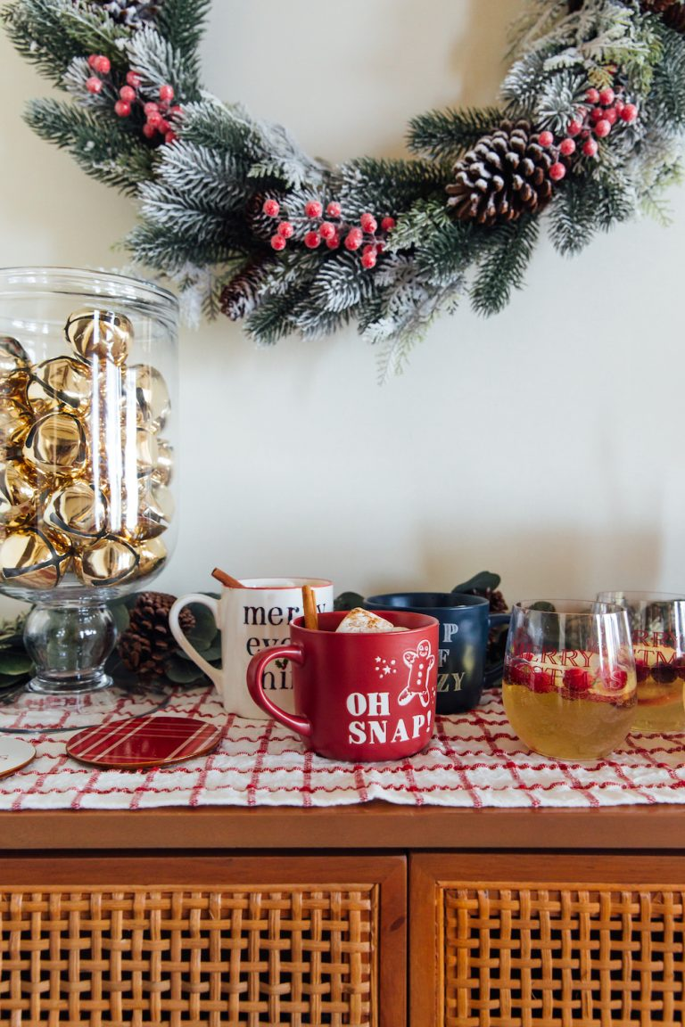 holiday happy hour bar setup - winter sangria and hot cocoa bar