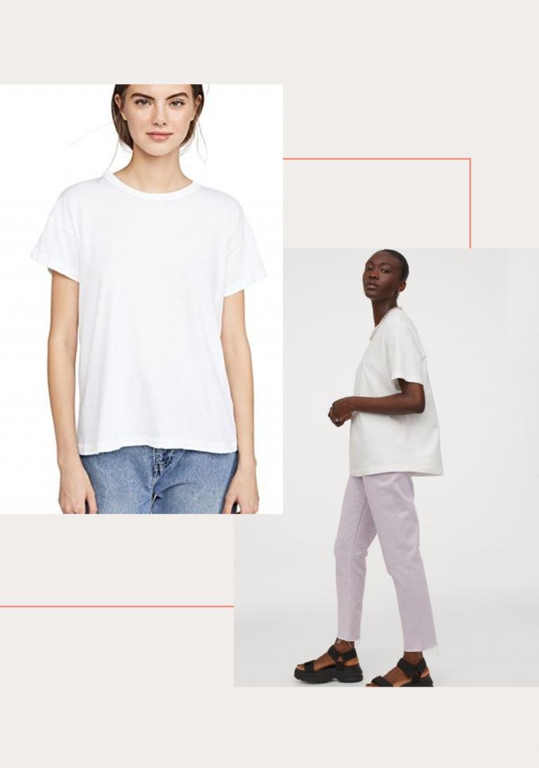 camiseta branca grande demais