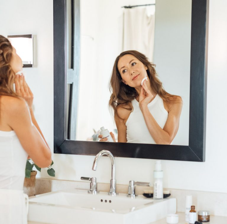 camille styles skincare routine bathroom