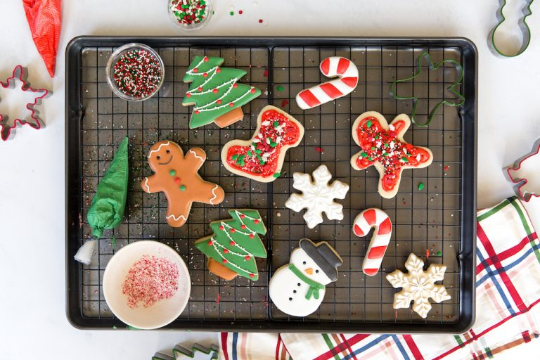 cute decorated christmas cookies - christmas tree, stocking, candy cane, snowman, snowflake