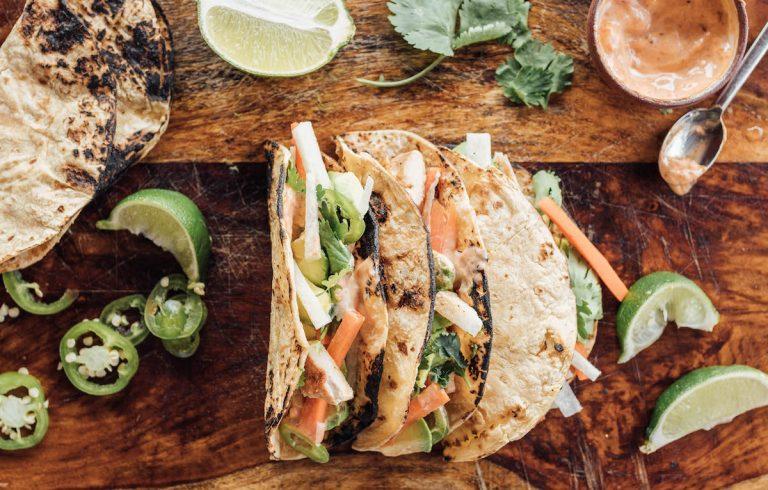 Lime-y Chicken Tacos with Jicama, Avocado, & Mint