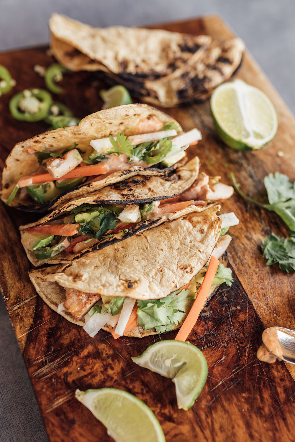 Lime-y Chicken Tacos with Jicama, Mint, Carrots, and Chipotle Aioli
