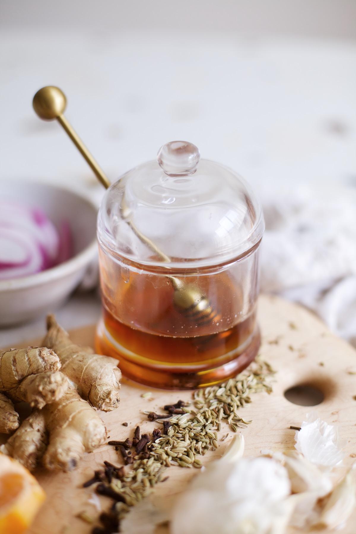 immunity tea, honey, kitchen, flu, cold