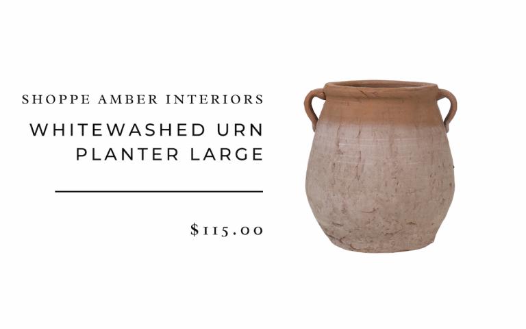 Shoppe Amber Interiors : Whitewashed Urn Planter Large