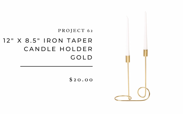 "project 62 12"" x 8.5"" Iron Taper Candle Holder Gold"