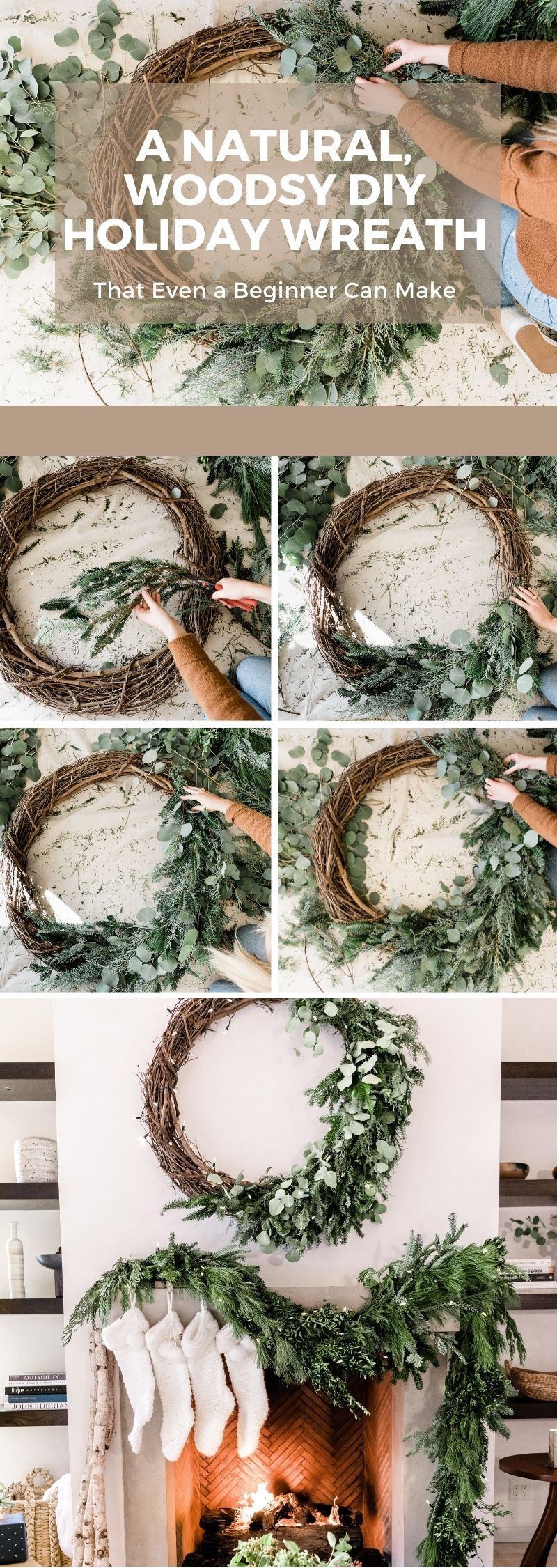 How To Make A Natural Holiday Wreath Holiday Decor Camille Styles