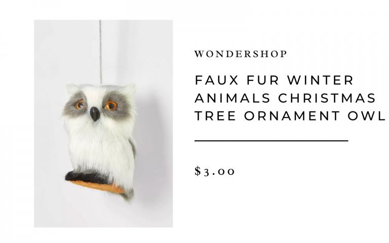 Faux Fur Winter Animals Christmas Tree Ornament Owl