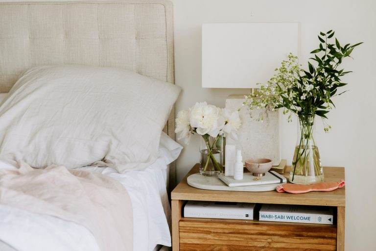 camille's bedside table beauty products