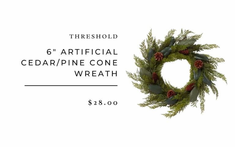 Artificial Cedar/Pine Cone Wreath