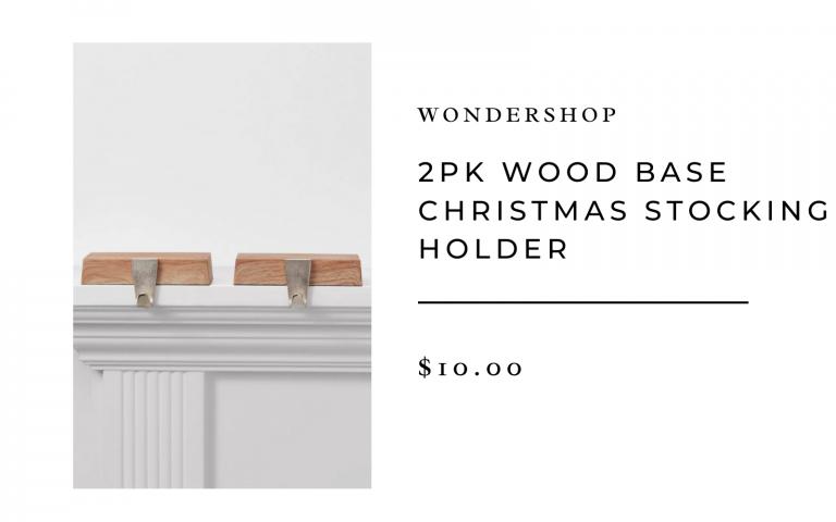 2 PK Wood Base Christmas Stocking Holder